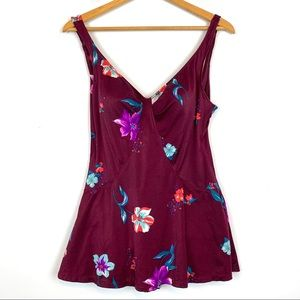 One-piece 16 Swimsuit Floral Purple Skirted AB22